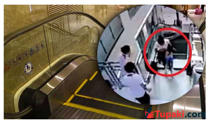 Chinese mother saves son seconds before falling to death inside escalator
