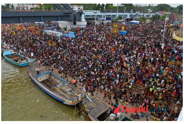 pilgrims take a dip on occasion of Pushkaralu