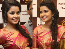 Anupama Parameswaran Launches VRK Silks Photos