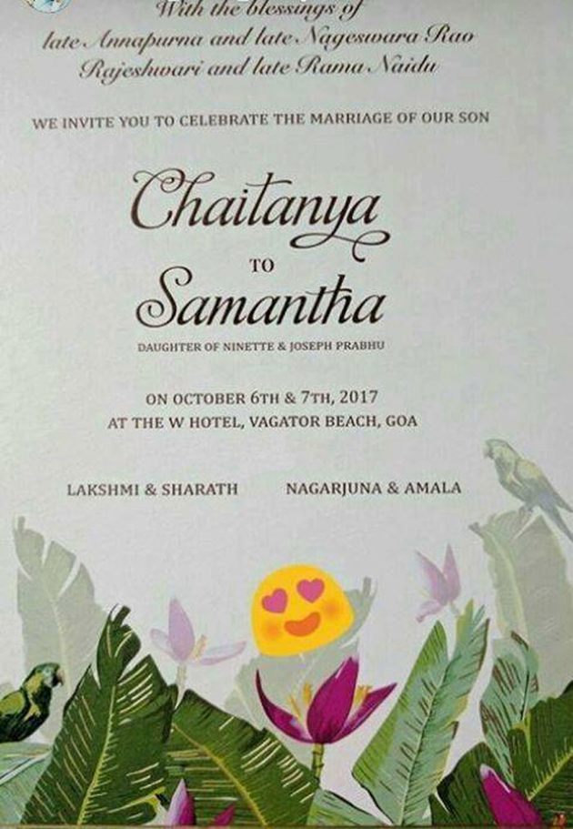 Naga chaitanya and samantha wedding card naga chaitanya and ye maya chesave is the debut film of samantha and first hit to naga chaitanya their relationship started as reel life couple and they are going to be stopboris Image collections