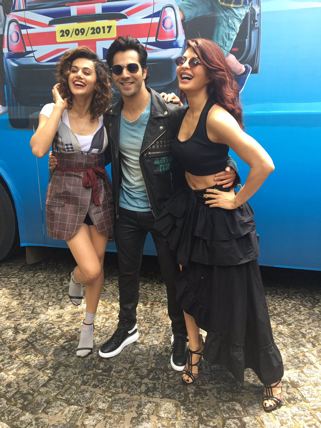 Jacqueline Fernandez Dominates Taapsee at Judwaa 2 Trailer Launch