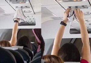 Woman caught drying underwear on plane