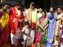Nara And Nandamuri Families Visits Tirumala Photos