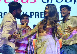 Pooja Hegde Stage Performance in Rangasthalam Pre Release Event