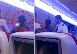 Man begged for money on a flight in viral video.