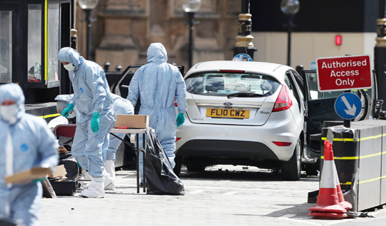 Car crash outside Parliament in London treated as terrorism .
