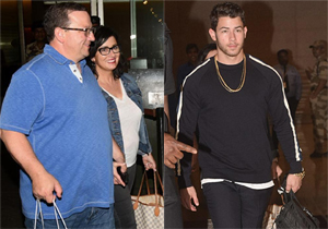 Nick Jonas and parents were spotted at Mumbai airport