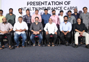 Film Newscasters Association of Electronic Media Health Card Distribution