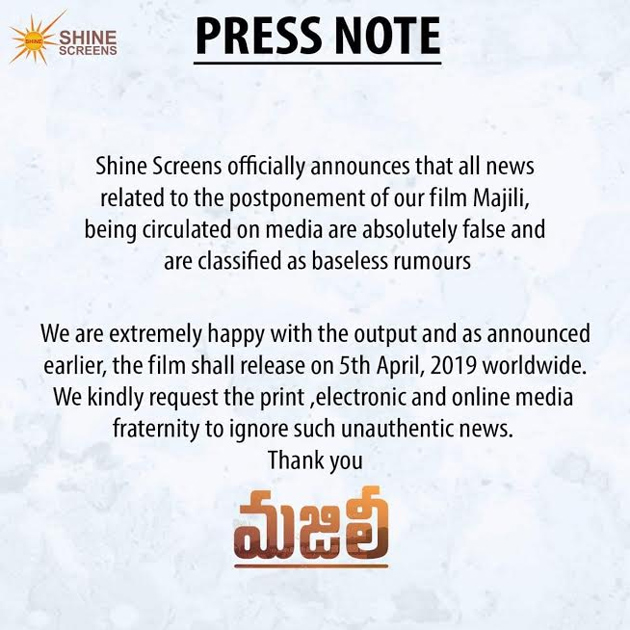 Majili Movie Team Responds on Rumours on about Movie Postponment