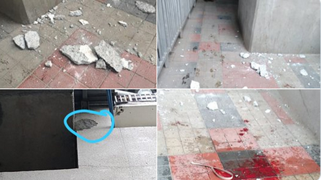 A portion of plaster from a wall at #Hyderabad Metro Rail station in Ameerpet chipped off