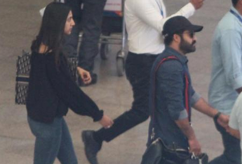Jr NTR with wife Lakshmi Pranathi spotted at airport as he returned from Bulgaria post RRR shoot