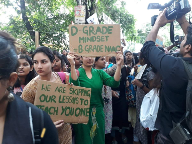 Students of St Francis College protest against strict dress Code