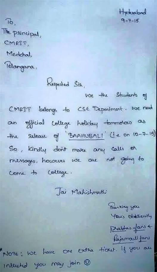 Leave Letter Of Students For Baahubali Release