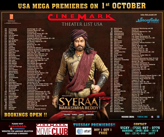 Sye Raa Movie USA Schedule
