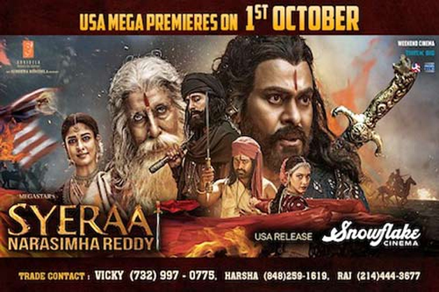 SyeRaa Narasimha Reddy Movie USA Theaters List