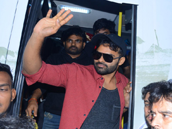 Pratiroju Pandaga Movie Team Bus Tour Photos