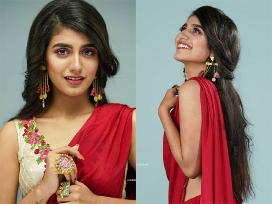Priya Prakash Varrier In Red Saree Photos