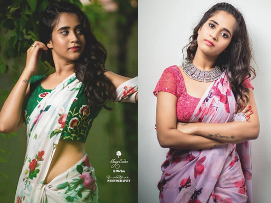 Deepthi Sunaina Saree Looks