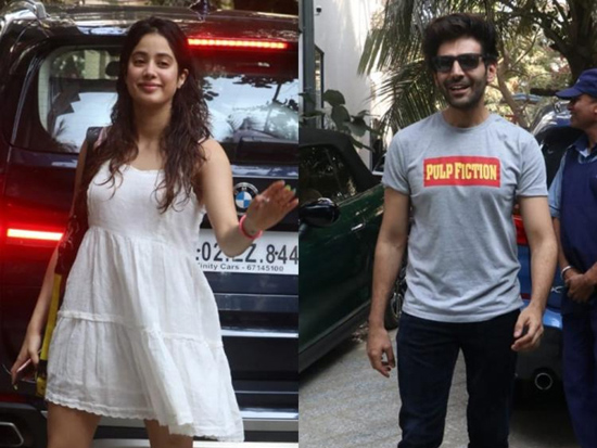 Janhvi Kapoor And Kartik Aaryan Looking Pretty While They Step Out In The City
