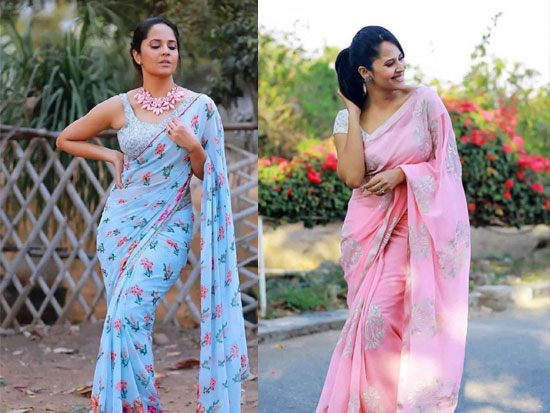 Anasuya Beautiful Looks In saree