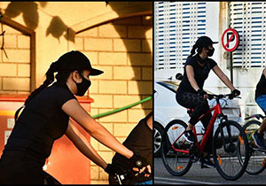 Katrina Kaif sweats it out while cycling with a mask on