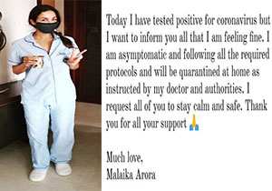 Malaika Arora Tested Negitive to pandemic Virus