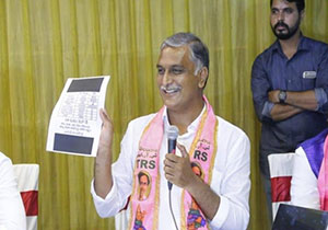 I resign if Sanjay proves central aid to beedi workers Says Harish Rao