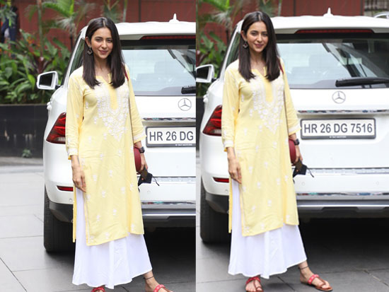 Rakul Charms In Lovely Yellow Outfit