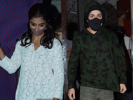 Actress Pooja hegde with family and Akhil Akkineni at theater in Hyderabad