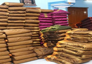 Batukamma sarees given by the ladies for buckets