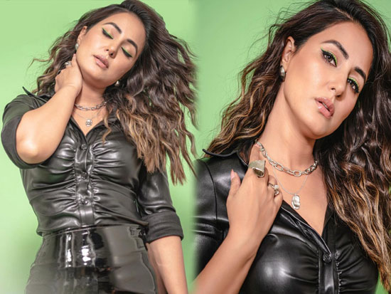 Hinakhan Sultry Poses In Shiny Black