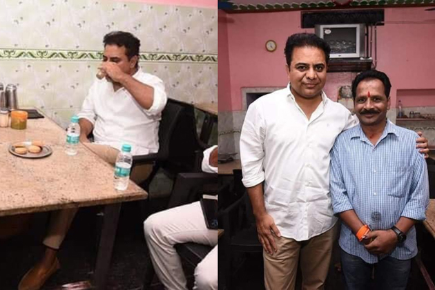 TRS working president Ktr enjoys tea in a road side tea stall
