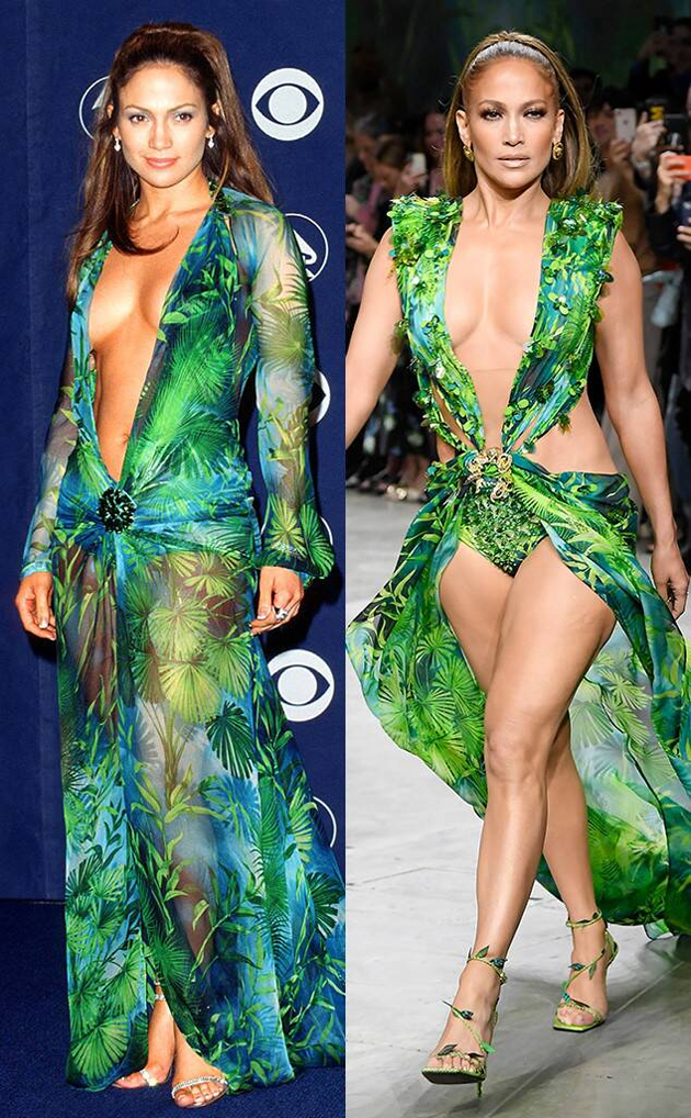 Jennifer Lopez Models Versace Dress at MFW Spring 2020