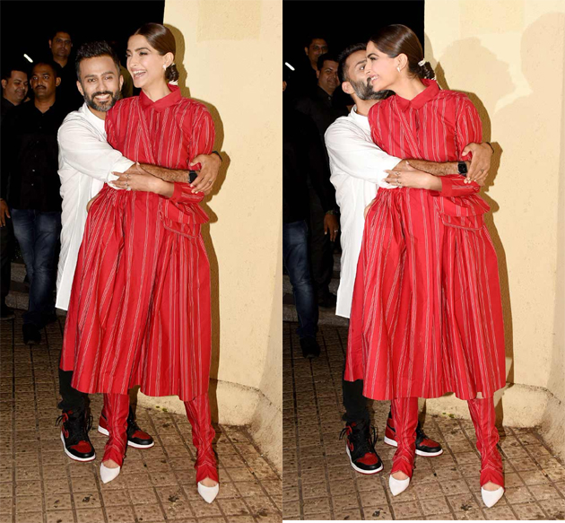 Sonam Kapoor And Anand Ahuja At Zoya Factor Special Screening