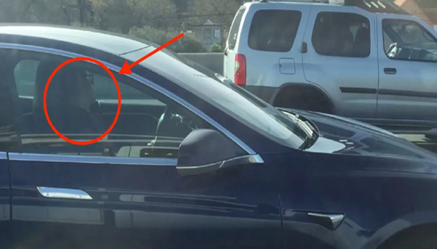 Tesla driver asleep at the wheel on freeway