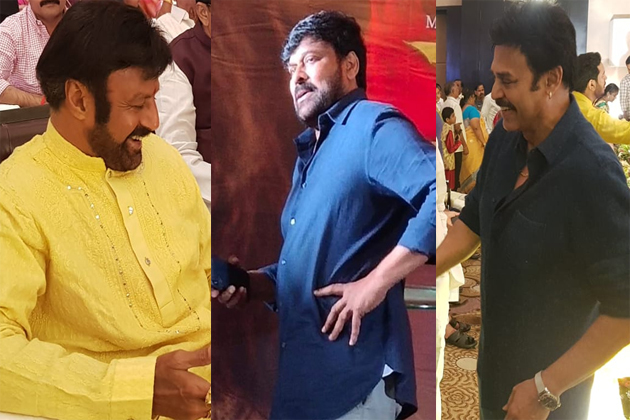 Balakrishna and Venkatesh Attend for Sye Raa Success Party