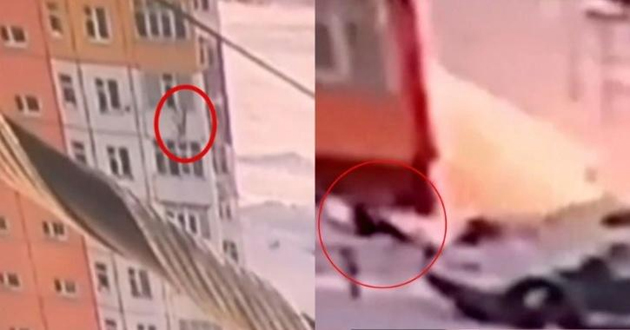 Woman fall from 9th floor on snow pile in Russia
