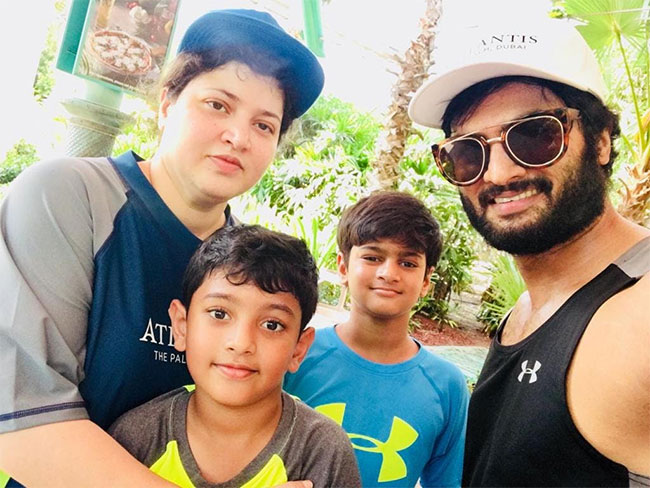 Actor Sudheer Babu with His Wife And Kids