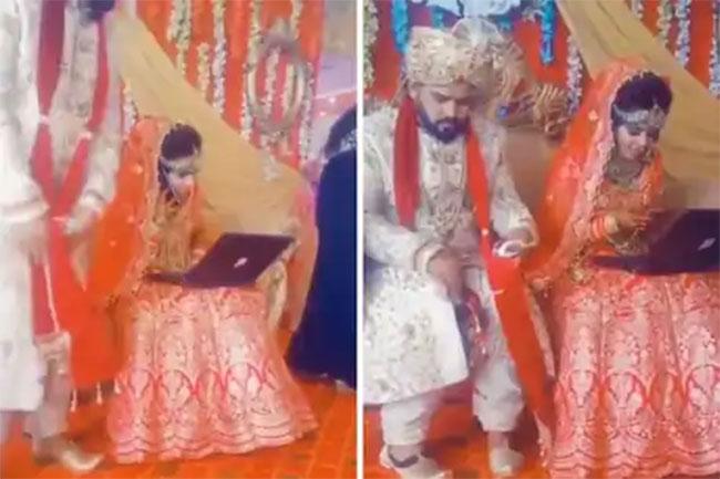 Laptop on the bride lap