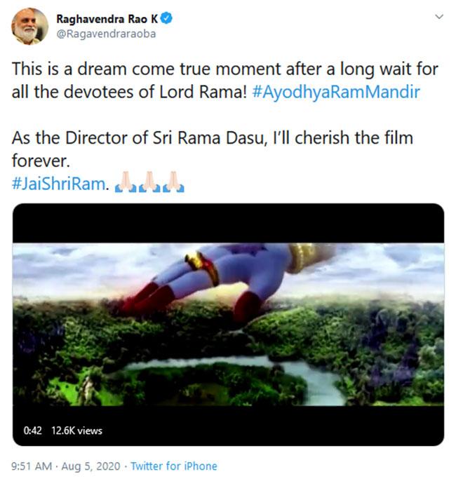 Raghavendra Rao Tweet On Ayodhya Ram Bhoomi