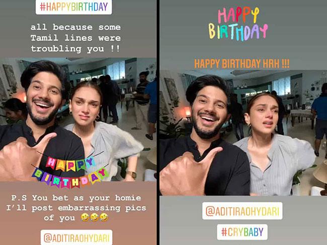 Dulquer Birthday Wishes To Aditi Rao