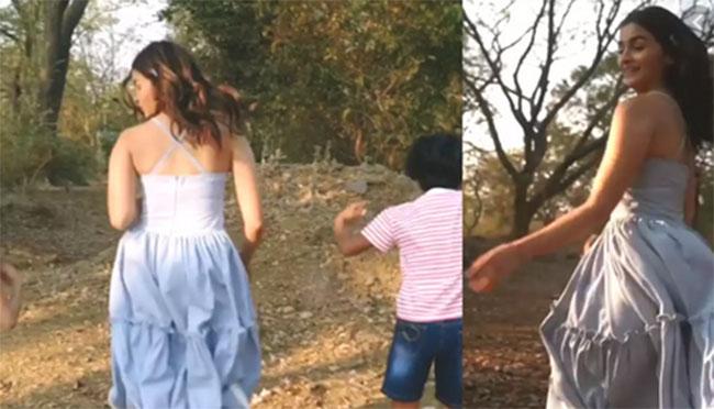 Alia Bhatt runs around with kids in forest