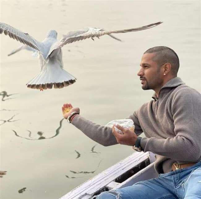 Shikhar Dhawan feeds birds in Varanasi
