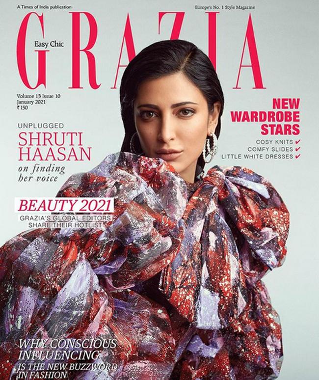 Shruti Haasan Sizzles on Grazia India Magazine Cover Page