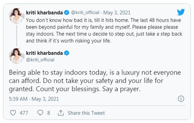 Kriti Kharbanda Emotional tweet On Corona Virus