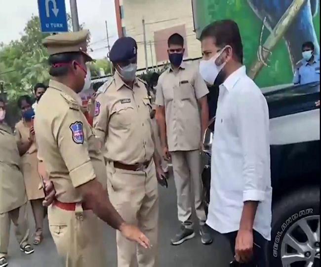 Police intercepted Revanth Reddy