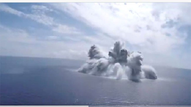 18,000 kg bomb blast in the middle of the sea