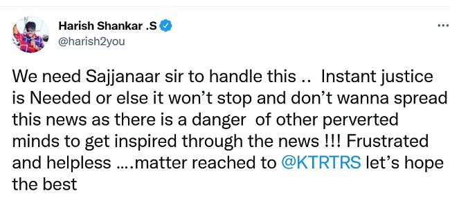 Harish Shankar says Sajjanar should come for justice