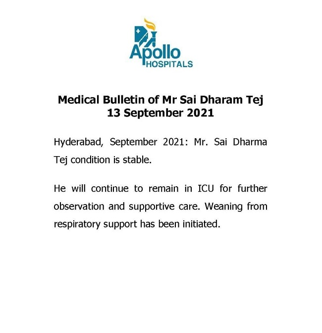 Latest Health Bulletin On Sai Dharam Tej Condition