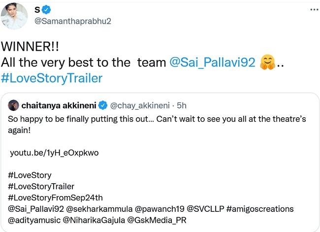 Sam Retweets Chaitanya Love Story Trailer